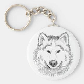 Wolf Head Sketch Keychains
