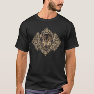 Wolf Head Tribal Black Grey Brown Shades T-Shirt