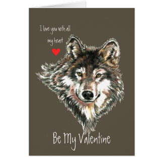 Wolf Head Valentine Love my Heart Wildlife Animal Greeting Card