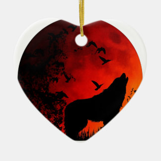 wolf howl ceramic heart decoration