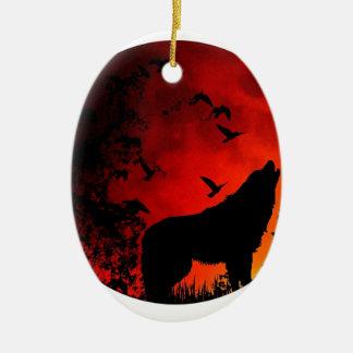 wolf howl christmas ornament
