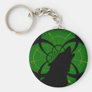 Wolf howl green basic round button key ring