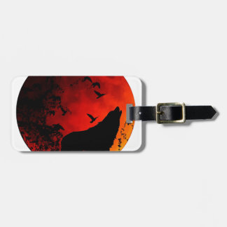 wolf howl luggage tag