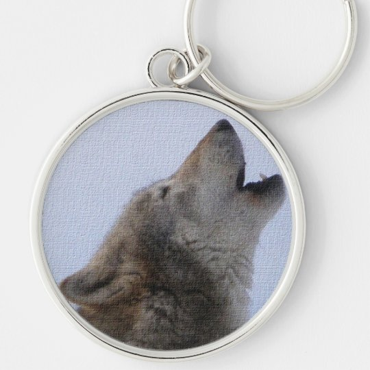 Wolf Howl Silver-Colored Round Key Ring