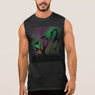 Wolf Howl Sky Night Northern Lights Animals Wild Sleeveless Shirt