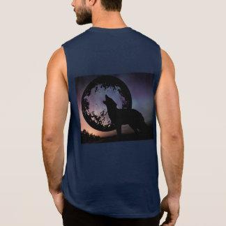 Wolf Howl Sky Night Northern Lights Animals Wild Sleeveless Shirts