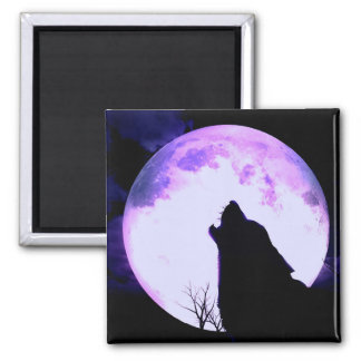 Wolf Howl Square Magnet Refrigerator Magnets