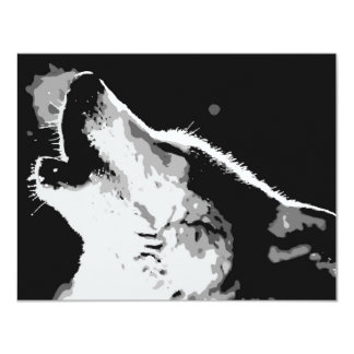Wolf Howling 11 Cm X 14 Cm Invitation Card