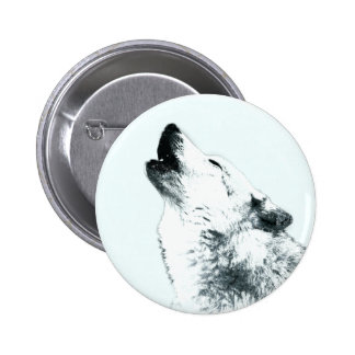 Wolf Howling 6 Cm Round Badge
