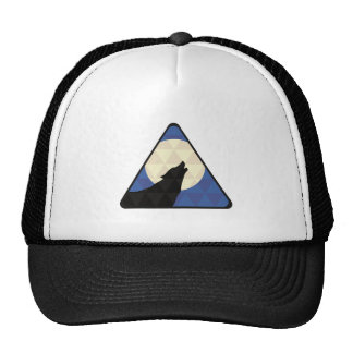 Wolf Howling At Big Moon With Triangle Design Cap