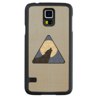 Wolf Howling At Big Moon With Triangle Design Carved Maple Galaxy S5 Case