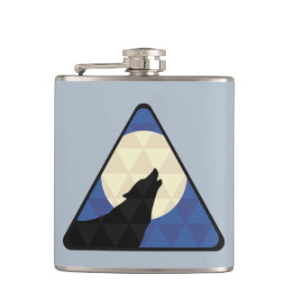 Wolf Howling At Big Moon With Triangle Design Hip Flask