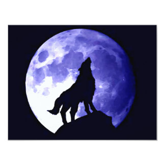 Wolf Howling at Moon 11 Cm X 14 Cm Invitation Card