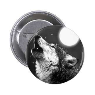 Wolf Howling at Moon 6 Cm Round Badge