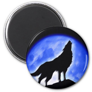 Wolf Howling at Moon 6 Cm Round Magnet