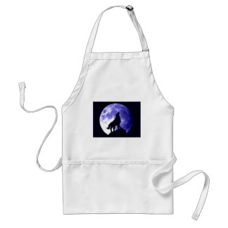 Wolf Howling at Moon Adult Apron