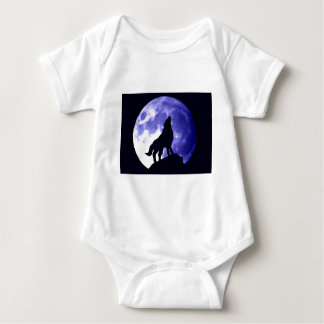 Wolf Howling at Moon Baby Bodysuit