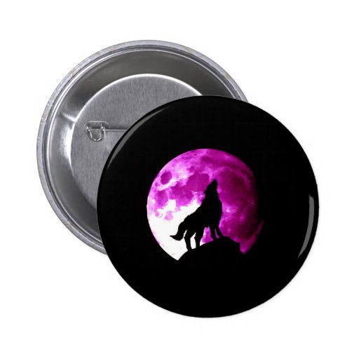 Wolf Howling at Moon Pinback Buttons