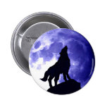 Wolf Howling at Moon Badge