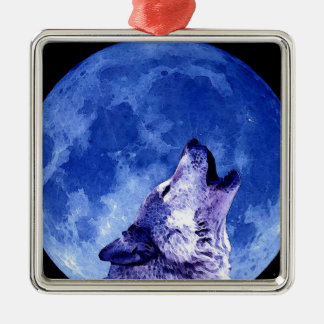 Wolf Howling at Moon Christmas Ornament