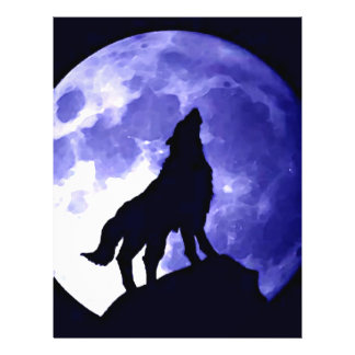 Wolf Howling at Moon 21.5 Cm X 28 Cm Flyer