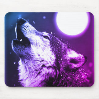 Wolf Howling at Moon in Blue Night Mouse Pad