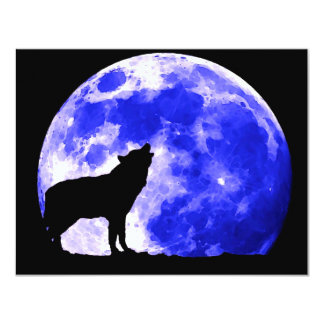 """Wolf Howling at Moon 4.25"""" X 5.5"""" Invitation Card"""