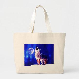 Wolf Howling at Moon Jumbo Tote Bag