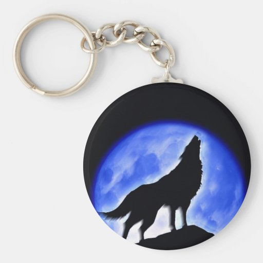 Wolf Howling at Moon Key Chain
