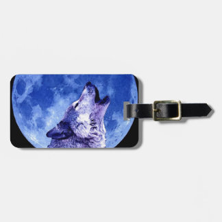 Wolf Howling at Moon Luggage Tag