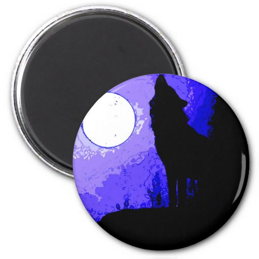 Wolf Howling at Moon Refrigerator Magnets