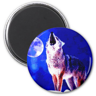 Wolf Howling at Moon Refrigerator Magnet
