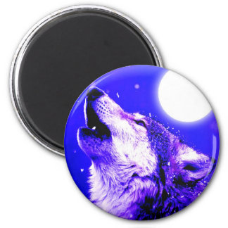 Wolf Howling at Moon Fridge Magnets