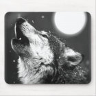 Wolf Howling at Moon Mouse Mat