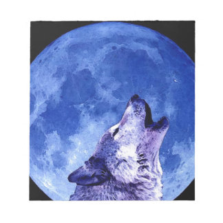 Wolf Howling at Moon Notepad