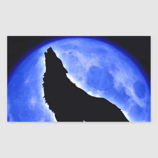 Wolf Howling at Moon Rectangular Sticker