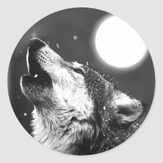 Wolf Howling at Moon Round Sticker