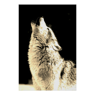 Wolf Howling at Moon Sepia Color Poster