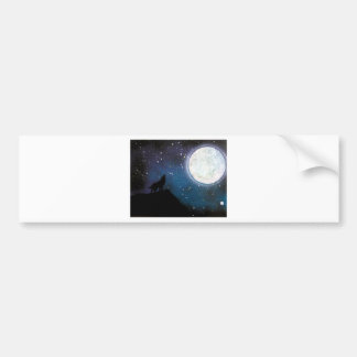 Wolf Howling at Moon Spray Paint Art Painting Bumper Sticker