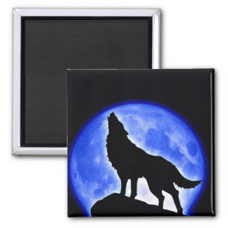 Wolf Howling at Moon Square Magnet