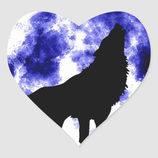 Wolf Howling at Moon Heart Sticker