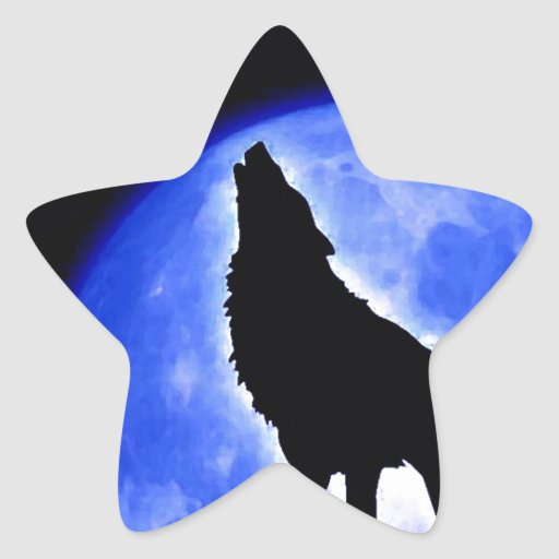 Wolf Howling at Moon Star Sticker
