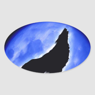 Wolf Howling at Moon Stickers