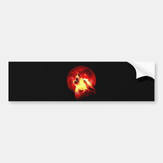 Wolf Howling at Red Night Bumper Sticker