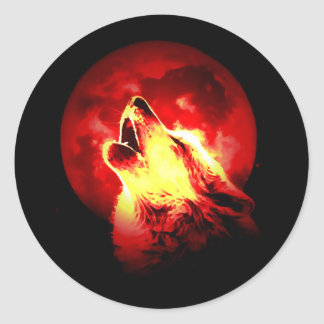 Wolf Howling at Red Night Round Sticker