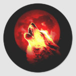 Wolf Howling at Red Night Round Stickers