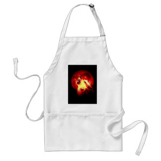 Wolf Howling at Red Night Standard Apron
