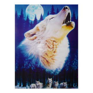 Wolf Howling at the Full Blue Moon Poster