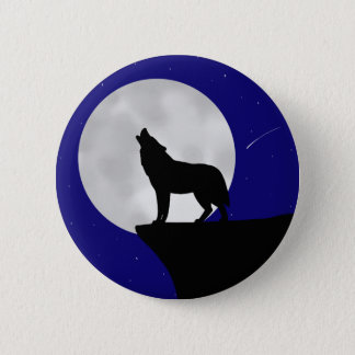 Wolf Howling at the Moon 6 Cm Round Badge