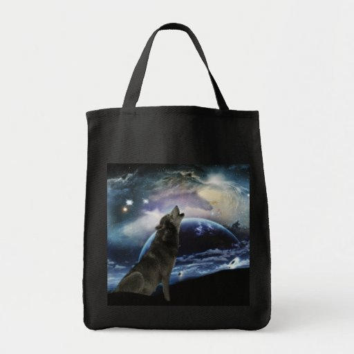 Wolf howling at the moon bag